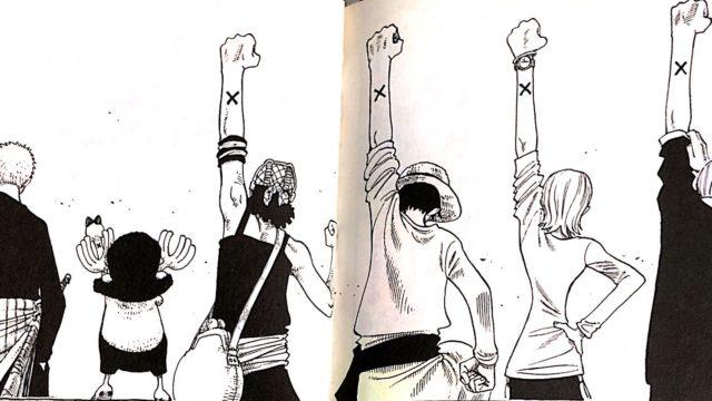 ルフィ達がビビとカルーに左腕にかかれている×印を見せる様子