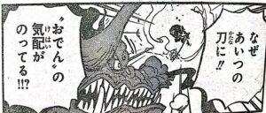 ゾロの刀がおでんが使っていた閻魔であることに気づくカイドウ